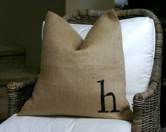 burlap pillow cover with initial added all natural burlap pillow cover with your choice of