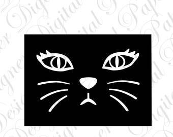 Cat Face SVG and Studio 3 Cut File Cutouts Files Design Logo for Silhouette & Cricut File SVGS Decals Files Country folk Art kitty Holiday