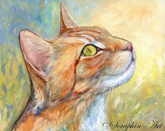 Ginger Cat Portrait Original Acrylic Painting