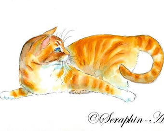 Playful Orange Cat Original Watercolor Painting