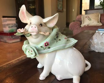 Cute Porcelain Pig with a Rose