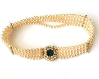 Vintage 60's Gold Tone Clear & Blue Rhinestone Faux Pearl Choker Collar Necklace (Boxed)