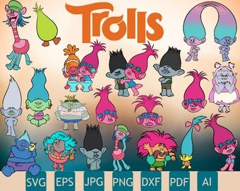 25 New Trolls Cliparts | Few Layers, Easy To Cut | Hight Quality |Trolls SVG | Trolls PNG | Printable | Cricut | Instant Download