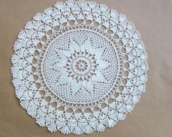 handmade crochet doily, light yellow doily 16 inches