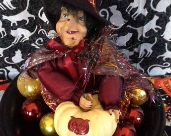 Witch sitting with pumkin vintage,Halloween, handmade, recycled, upcycled