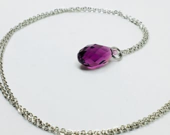 Amethyst Swarovski Elements tear drop necklace