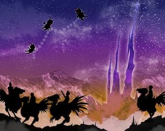 """15"""" Print - Night Sky Moogles - FFXV Fan Art"""