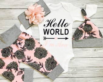 Newborn Girl Coming Home Outfit, Newborn Girl Outfit, Newborn Hospital Outfit, Newborn Girl Coming Home Set, Coming Home Outfit Baby Girl