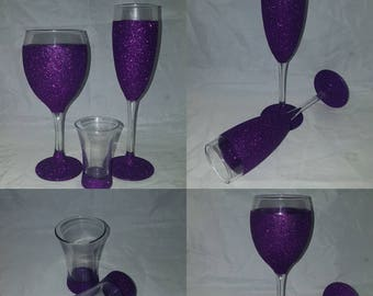 Cadbury purple glitter glass set