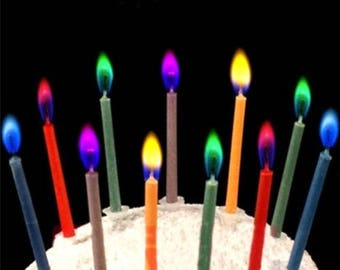 12 x Multicolour Flame Birthday Candles and Holders.