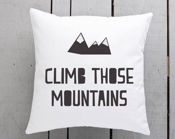 mountain theme, mountain cushion, mountain present, mountain homewares, nordic homewares, nordic nursery cushion, nordic gift idea