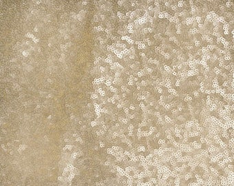 Champagne Sequin Fabric, Glitters Sequins Fabric, Champagne  Full Sequin on Mesh Fabric, Sequins Fabric by the Yard -SQC