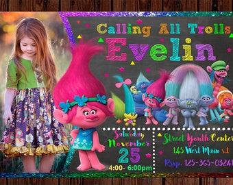 Trolls Invitation, Trolls Birthday Invitation, Trolls Invite, Trolls Party, Trolls Card,  TrollsPrintable