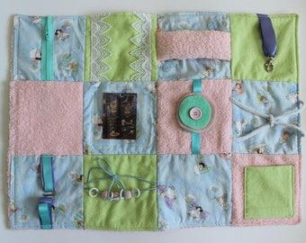 Fidget Blanket - Fairies - Dementia Alzheimer's - Fidget Quilt - Sensory Blanket - for adults - Lap Pad - Activity Blanket LLBQ-008PBL