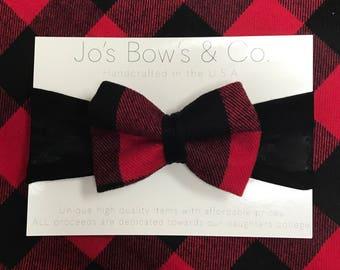 Baby Headband- Baby Girl headband - hair bows - Baby Bows - hair bows for babies- baby hair bows-buffalo print- Plaid
