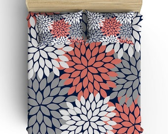 Girl Floral BEDDING Comforter- DUVET COVER, Pillowcase, Coral Navy Gray Flower Petals- Toddler- Twin- Queen- King- Monogram Bedding Set