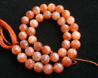 Sunstone Faceted,Bolls,Roundel Beads,Size- 8X9 MM,Natural Sunstone Faceted,Bolls ,Beads, AAA Quality, Beads,Natural Gemstone,12.5 INCH