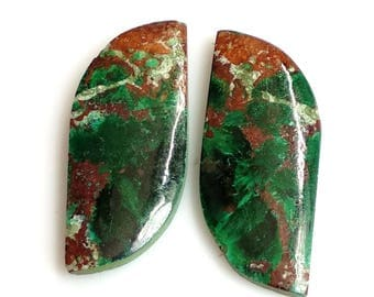 Chrysocolla Fancy Pair Cabochon,Size- 25x10 MM, Natural Chrysocolla, AAA,Quality  Loose Gemstone, Smooth Cabochons.