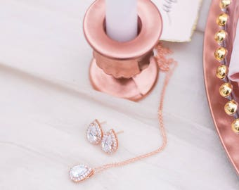 Teardrop Cubic Zirconia Pendant Necklace and Earrings set - Rose Gold CZ Necklace and Earrings set, Wedding Jewelry Set, Bridal Jewelry Set