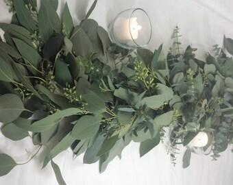 Fresh Garland, seeded eucalyptus, gunnii eucalyptus, baby eucalyptus, silver dollar eucalyptus, wedding garland, table garland, wedding prop