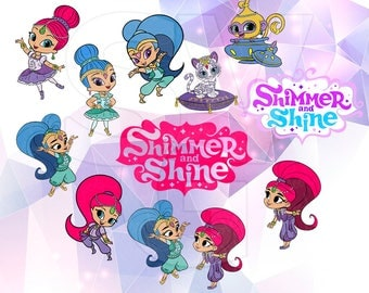 SVG Shimmer and Shine Clip Art Layered Cut Files Cricut Designs Silhouette Cameo Party Supply Decorations Vinyl Tshirt Decal Scrapbooking