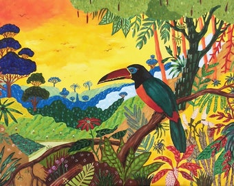 The making - Toucan painting oil on canvas, brush painting