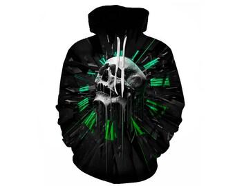 Skull Hoodie, Skull, Skull Hoodies, Skull Prints, Scalp Hoodie, Gothic, Skeleton, Skulls, Scalp, Hoodie, 3d Hoodie, 3d Hoodies - Style 6
