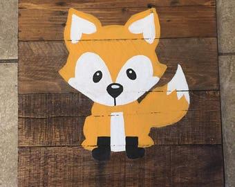Fox woodland creature Pallet wood nursery sign 12in x12in