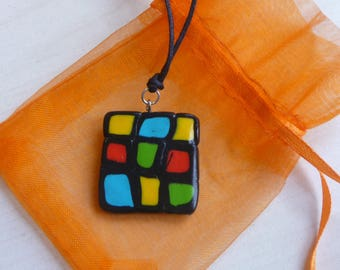 Fimo pendant, Rubik's Cube, Polymer paste pendant, waxed lanyard adjustable, gift idea for her, Fimo necklace, Valentine's Day gift