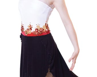 Women's Figure Skating Competition Dress Figure Ice Skating Dress Dance w/ hand beaded trim - Elegant