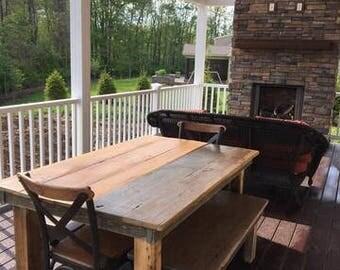 Rustic Post Leg Farmhouse Table