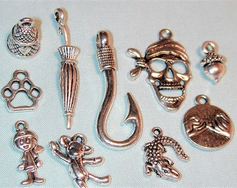 Peter Pan Inspired Charm Collection  10pc  Silvertone C240