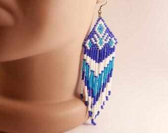 Extra Long earrings, Gipsy long earrings, Long Boho earrings,Winter Boho Long earrings