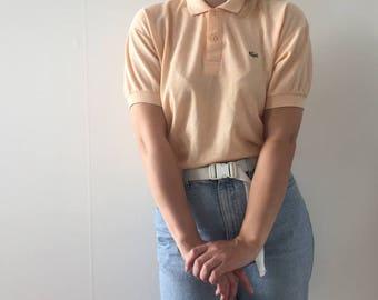 LACOSTE Peach Peachy Pastel Polo Vintage Retro Shirt Size L XL Oversized Tshirt Cute Kawaii Tennis