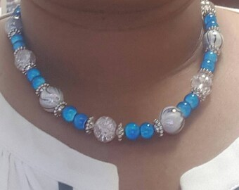 One of a kind, Blue beaded Necklace