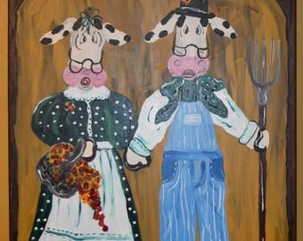 American Gothic cow painting on canvas
