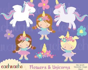 Unicorn and girls Clipart - Set de 9 imágenes de unicornios y niñas, uso personal, uso comercial pequeño, descarga inmediata