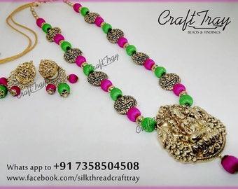 Silk thread Lakshmi Devi temple jewelry set