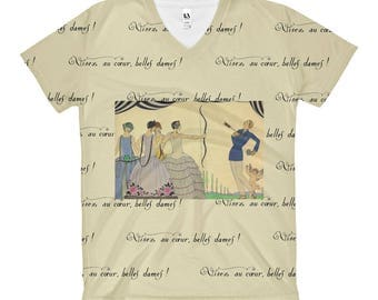 Womens T-Shirt Funny Tshirt Nostalgic Top Art Deco Shirt Art Nouveau Vneck Graphic Tee Shot Through The Heart Shirt  Gift For Her Women Tee
