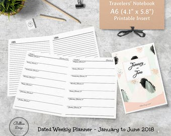 A6 Travelers Notebook Inserts, A6 2018 Planner Refill, 2018 Planner Weekly, 6 Month Planner, Week on 1 Page Inserts, January-June 2018 Plans