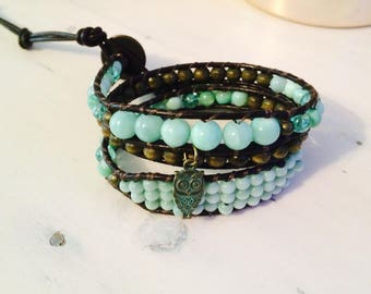 Bracelet two rows leather adjustable gift idea