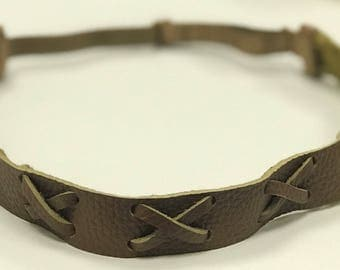 Adjustable Vegan Leather Headband