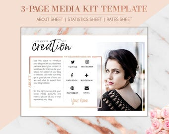3-Page Media Kit Blogger Template - ROSIE - Press Kit for Blog, MS WORD  (.docx), incl. About sheet/ Statistics sheet/ Rates sheet