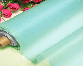 100% Real Silk Organza Fabric Mineral Ice Blue Natural Silk Material for Wedding Bridal Dress (yza11004 X Yards /Meter or samples)