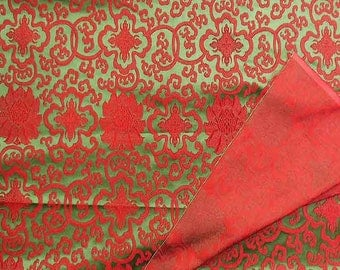 Huge Discount Chinese brocade satin fabric material wealthy flower on moss green  embroidered by the Yard Meters cbs 2012