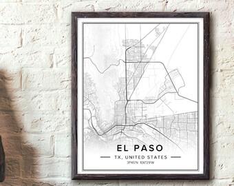 El Paso Texas Wall Art, El Paso Tx Map, El Paso Poster, El Paso Wall Art, Map Of El Paso, Texas Map Print, City Maps Art, Digital Map, Pdf