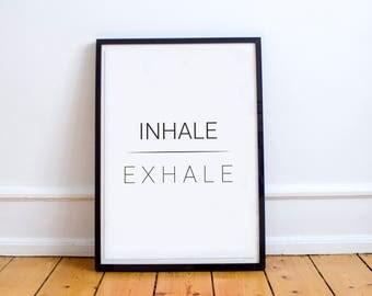 Printable Wall Art, Printable Art, Printable Quote, Yoga Print, Kundalini Print, Namaste, Inhale Exhale, Modern Art, Om, Pranayama