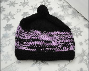 Hand Knit Pom Pom Hat, Bobble Hat, Hat, Hat for Him, Hat for Her, Beanie Hat, Stocking Filler, Secret Santa Gift, Knitted Hats, Purple Hat