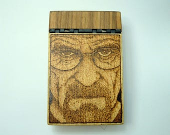 wooden cigarette box with burned in Walter White, aka Heisenberg