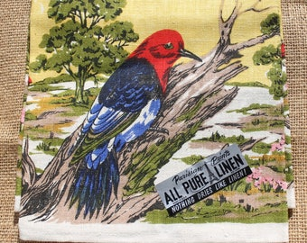 1960s Vintage MWT Linen Kitchen Floral Tea Towel, Parisian Prints, Birds, Landscape, Woodpecker, Nature Scene